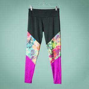 Onzie M/L Floral Sky Color Block Yoga Leggings